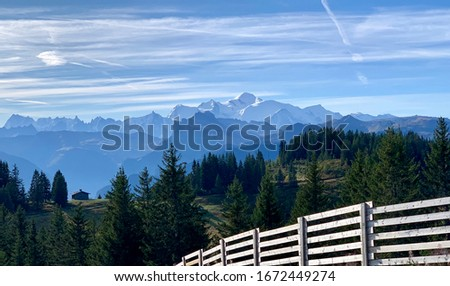 Beautiful landscape view of the Mont Blanc Massif in summer taken from the top of the Rosta ski lift in the pretty ski resort of Les Gets France in the Portes du Soleil Photo stock ©