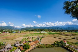 Beautiful landscape view on wat phuket viewpoint pua District nan.Phuket Temple is a temple is Nan Province.Pua  in the central part of Nan Province, northern Thailand