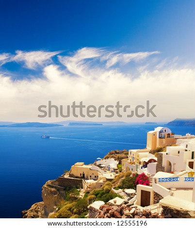 Beautiful landscape view (Santorini Island, Greece) - stock photo