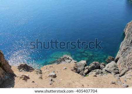 Beautiful landscape view with a coast and a sea background, #405407704