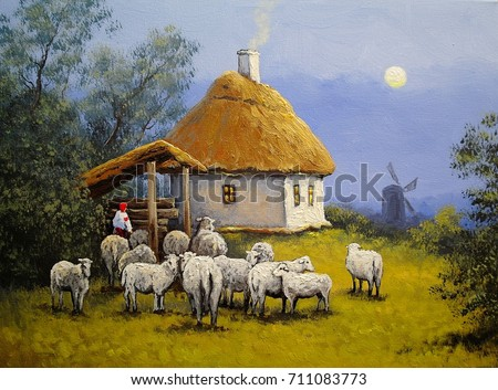 Beautiful landscape. Village, sheep. Oil paintings.Fine art.
