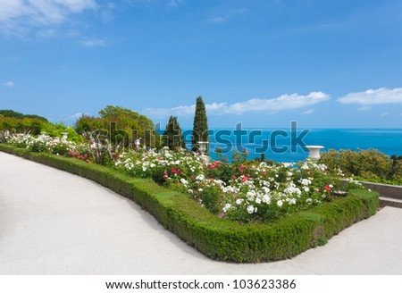 beautiful landscape - white roses, sea and sky in Vorontsov Palace, Crimea, Ukraine
