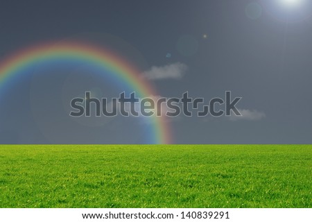 Beautiful Landscape with a rainbow and dark weather