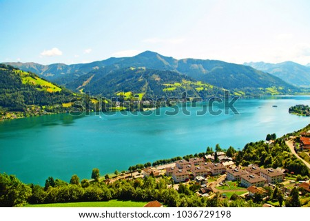 Shutterstock beautiful landscape with blue water, shot from above,  Zell am See, Austria