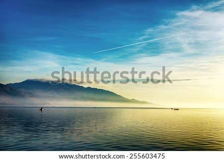 Beautiful landscape with boats and sea #255603475