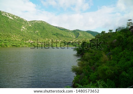 beautiful landscape with cloudy sky and river. mountain and river