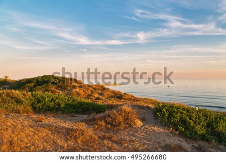 Beautiful landscape with coast of the sea. Sunset sky. Costa Mijas. Andalusia. Spain.  #495266680