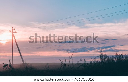 Beautiful landscape with fog in the background #786915316