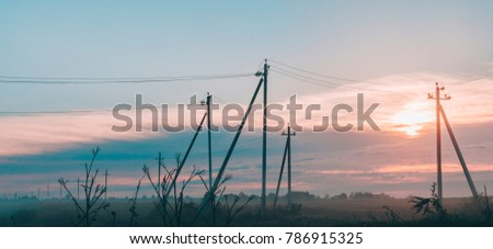 Beautiful landscape with fog in the background #786915325