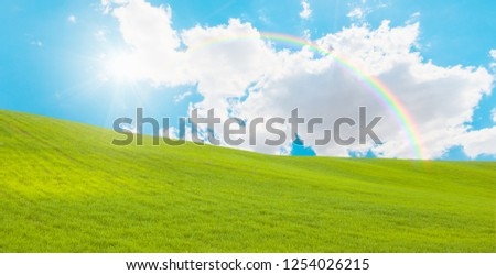 Beautiful landscape with green grass field and sun rays and rainbow #1254026215