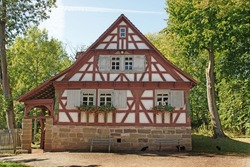 beautiful landscape with half timbered house in germany