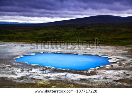 Beautiful landscape with hot geothermal spring Blahver at night in Hveravellir, Iceland