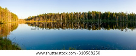Stock Photo Beautiful landscape with lake and forest in Karelia