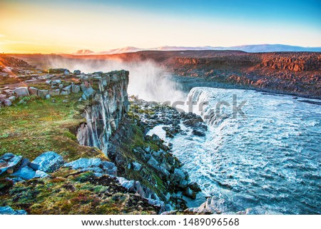 Beautiful landscape with most powerful waterfall in Europe Dettifoss in Vatnajokull National Park in Northeast Iceland. Exotic countries. Amazing places. (Meditation, antistress - concept).  #1489096568