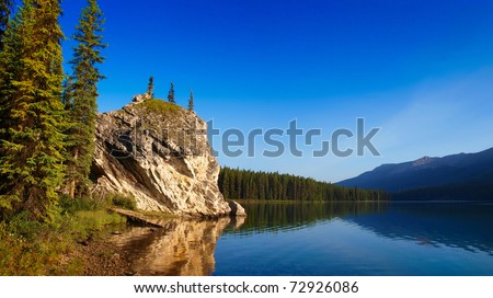 Beautiful landscape with mountain lake at dawn in Jasper National Park, Alberta, Canada