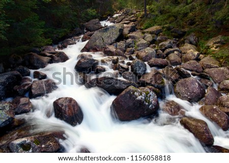 Beautiful landscape with mountain river. Mountain river in Slovakia