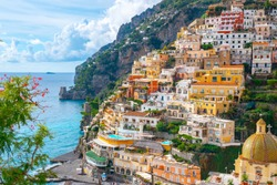 Beautiful Landscape with Positano town at famous amalfi coast, Italy