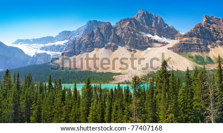Beautiful landscape with Rocky Mountains and azure blue mountain lake in Banff National Park, Alberta, Canada