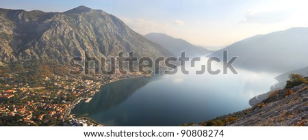 Beautiful landscape with sea and mountain. Risan, Montenegro