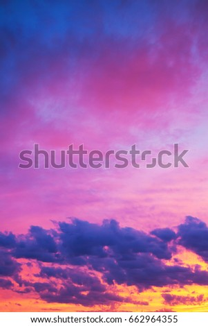 beautiful landscape with sky, clouds and sunrise. view  sunset. #662964355