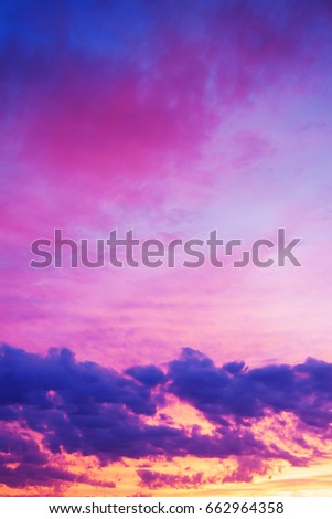 beautiful landscape with sky, clouds and sunrise. view  sunset #662964358