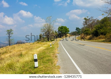 Beautiful landscape with winding road in the mountains