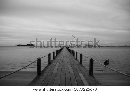 Beautiful landscape wooden bridge on the lake with dramatic sky background, black and white dark tone. Concept of alone, Lonely, Depression, Hopeless, Sorrow, Failed and business crisis. Copy space.