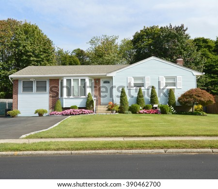 Beautiful Landscaped Suburban Ranch Style Home Residential Neighborhood USA