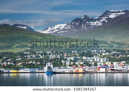 Beautiful landscapes in Akureyri, Iceland
