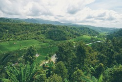 Beautiful lanscape with green valley, rice fields and mountains. Bali Indonesia.