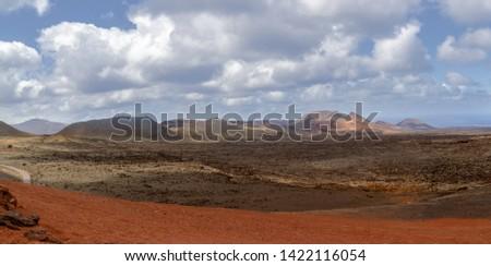 Beautiful Lanzarote island panoramic landscape, Canary, Spain. Beautiful volcanic Lanzarote island panoramic landscape, Canary, Spain.