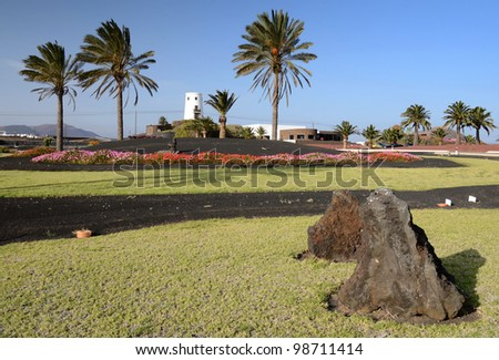 Beautiful Lanzarote's green square