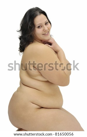 Beautiful large girl isolated in white
