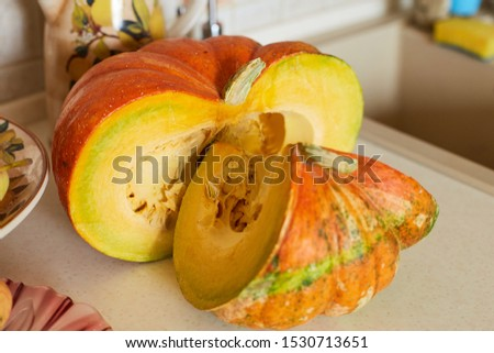 Beautiful large pumpkin with large seeds on a table in the kitchen