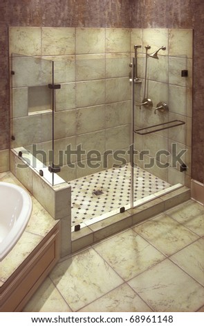 Bathroom Tile Gallery on Beautiful Large Tile Shower With Brass Fittings Stock Photo 68961148