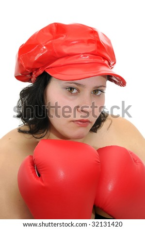 Beautiful large woman with boxing gloves isolated in white