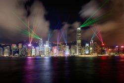 Beautiful laser show scenery of Victoria harbor, Hong Kong