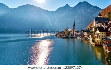 Beautiful late autumn landscape of Hallstatt mountain village with Hallstatter lake in Austrian Alps. Salzkammergut region, Austria