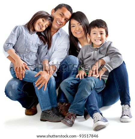 Beautiful latinamerican family - isolated over a white background