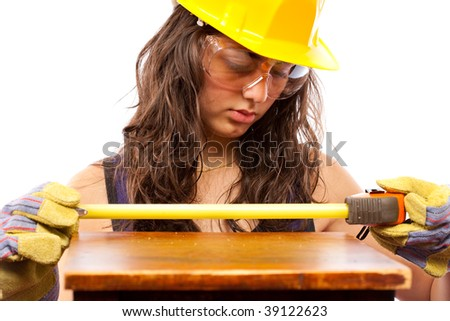 Beautiful latino construction worker woman isolated on white background