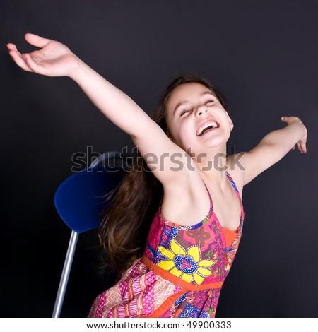 beautiful laughing brunette girl