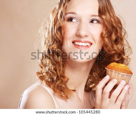 beautiful laughing woman with cake