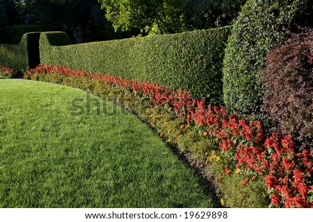 beautiful lawn and hedge, trimmed with flowers