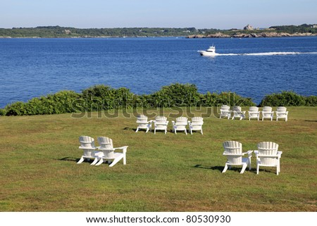 Beautiful lawn overlooking the channel at Castle Hill, in Newport, Rhode Island