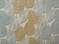 Beautiful leaf texture of tile.leaves pattern of wall tile with shallow depth of field.