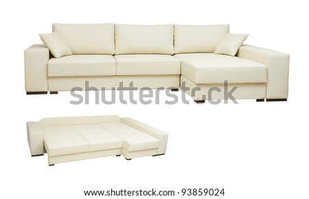 beautiful leather sofa beige color on a white background
