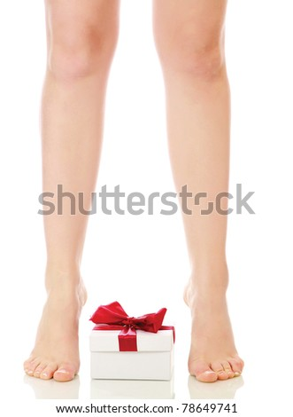 Beautiful legs and feet and a present