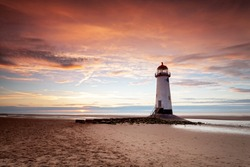Beautiful light at Talacre Lighthouse, Wales, UK