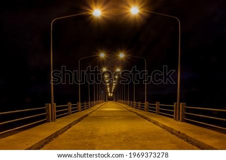 Beautiful light on long bridge at Lo Jak port in Koh Yoal Yai Thailand Zdjęcia stock ©