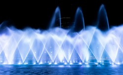 Beautiful lighting fountain show for background.